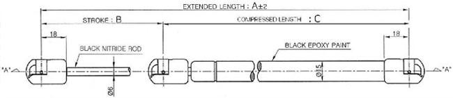 Standard Gas Struts 6/15 - includes fittings
